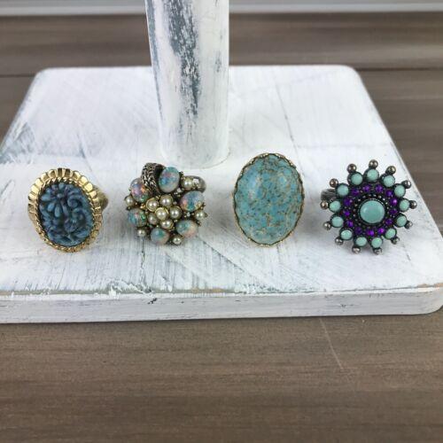 Light Blue Stone Adjustable Rings - Vintage Costume Jewelry - Lot of 4