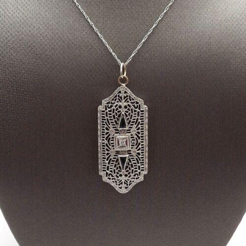 Art Deco 10k White Gold Sapphire Diamond Filigree Pendant Necklace 18in