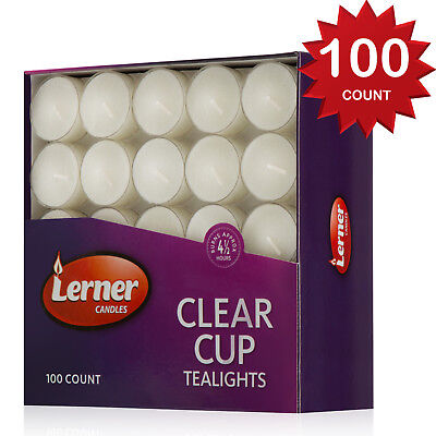 Tea Light Candles Clear Cup Unscented PACK Of 100 Burns Aprox 4.5 Hour By Lerner Clear Cup Tealight Candles