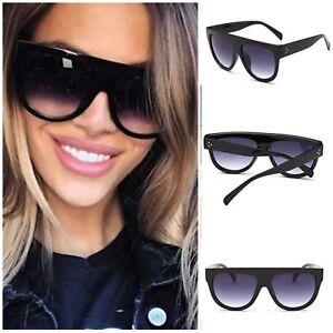 Black Oversized Shadow Sunglasses Flat Top Shield Women's Ladies High Quality