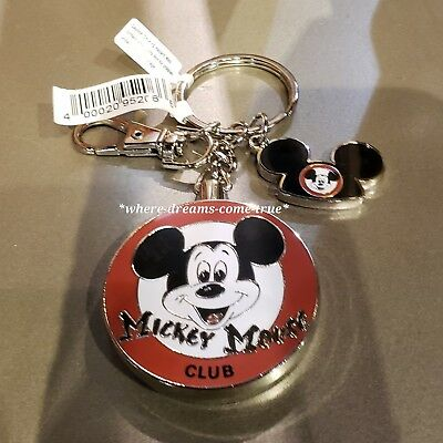 Disney Parks Mickey Mouse Club with Mouse Ears Charm Mouseketeer Keychain - NEW