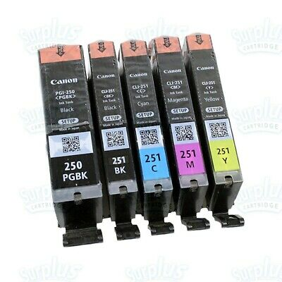 Genuine Canon 5PK PG-250BK  CLI-251 Clr Ink iX6820 iP7220 MG5620 MG7120 (Setup)