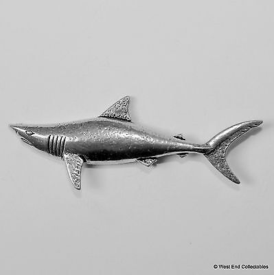 Swimming Shark Pewter Pin Brooch -British Hand Crafted- Sea Fishing Fish Mako