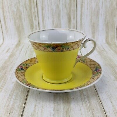 Two Lusterware Mini Tea Cups and One Saucer Japanese Retro Vintage Teacup Floral Delicate Ceramic