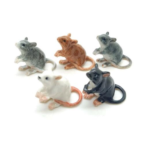 5 Rat Mouse Mice Ceramic Figurine Animal Miniature Statue - CCK174-1