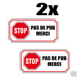 2x sticker autocollant stop pas de pub merci boite aux lettres ebay. Black Bedroom Furniture Sets. Home Design Ideas