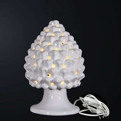 Lume lampada da tavolo pigna ceramica di Caltagirone Sicilia artigianato bianco