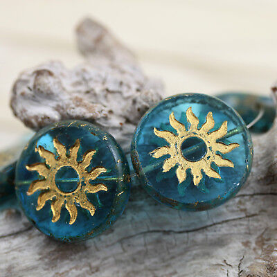 2pcs 22mm Sun Coin Chunky Table Cut / Pressed Czech glass beads - Unique Czech Glass Coin Beads