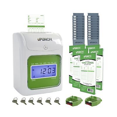 Upunch Time Clock Bundle With 100 Cards 2 Ribbons 2 Time Cards Racks 6 Key...