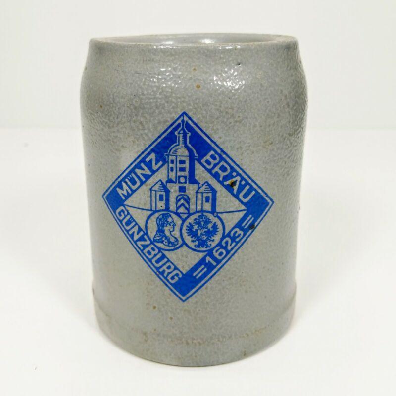 Vtg. Munz Brau Gunzburg 1623 .5L German Stoneware Mug Stein