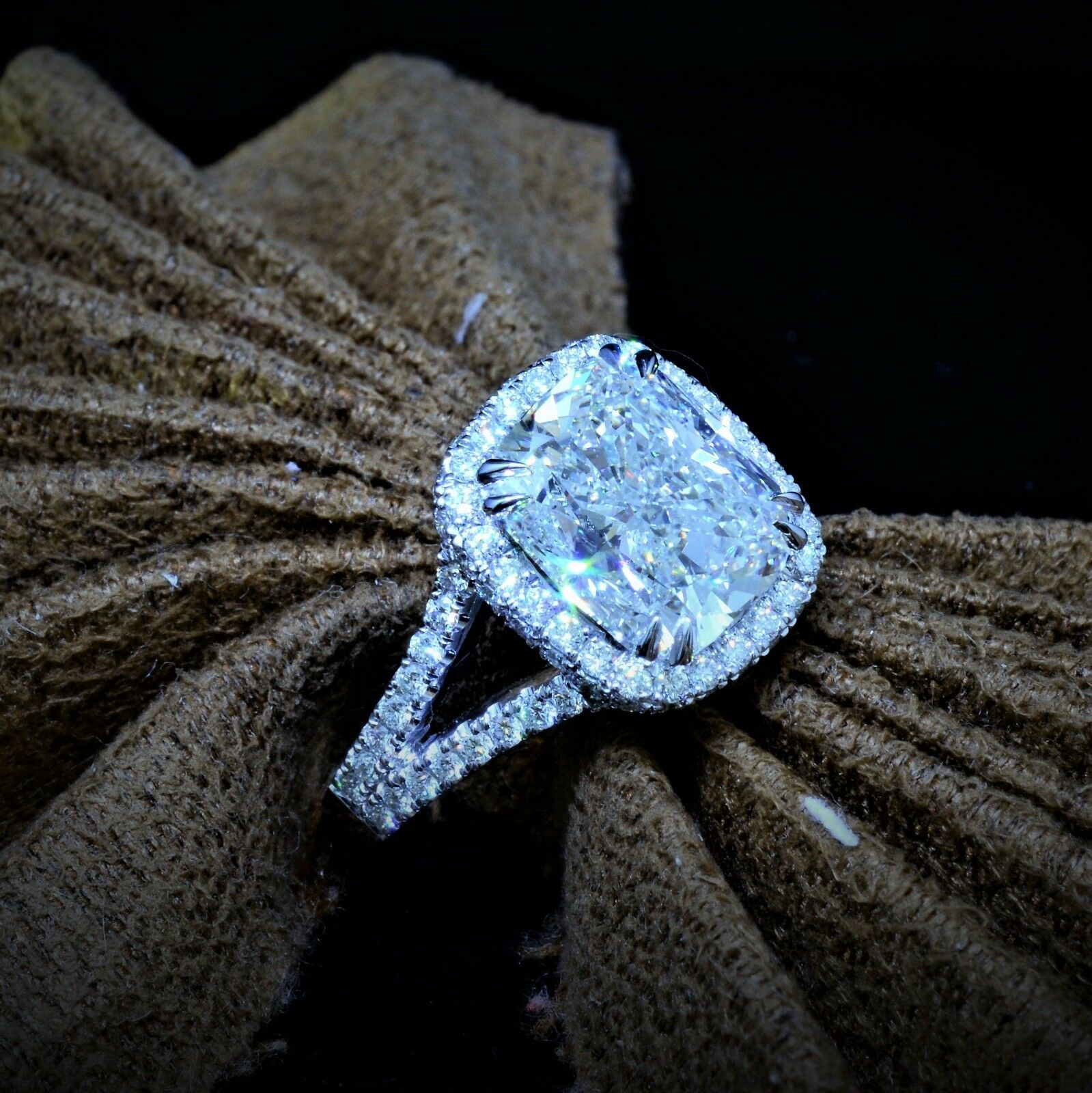 NEW 4.05 Ct Cushion Cut Micro Pave Halo Round Diamond Engagement Ring F,VS2 GIA