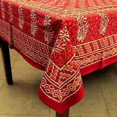 Handmade Dabu Floral Block Print Cotton Tablecloth 60x90 Inch Rectangular Red