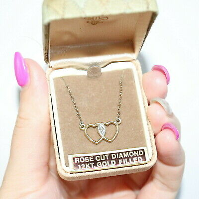 60s -70s Jewelry – Necklaces, Earrings, Rings, Bracelets Vintage c1960s 12k Gold GF Real Diamond Necklace Original Box unused old stock $159.58 AT vintagedancer.com