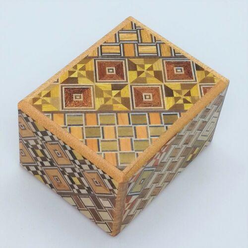 7 steps Yosegi 2 sun Japanese Secret Wooden Puzzle Box Himitsu-bako Brand NEW