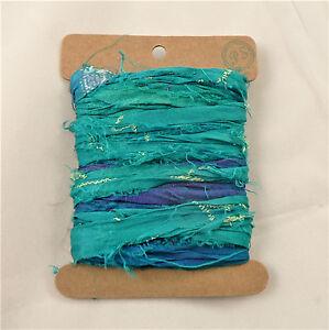 Teal Blue Indian Sari Silk Ribbon Card 5 Metre Length