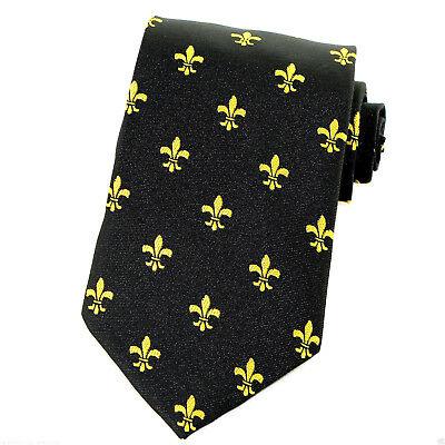 Fleur Di Lis Mens Necktie Mardi Gras Fashion Gift Gold Black Dress Neck Tie New