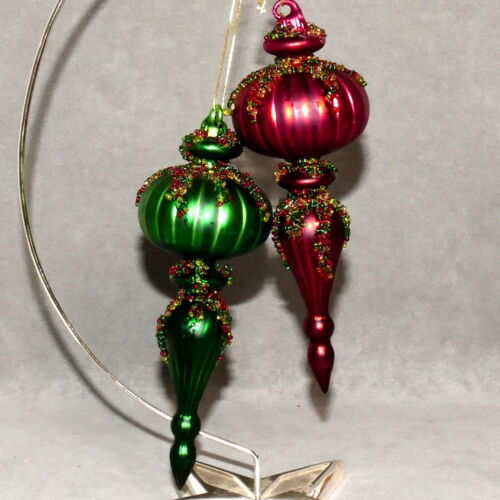 Christmas Ornament ART GLASS DROP Finial Beaded Burgundy Red & Emerald Green Lot