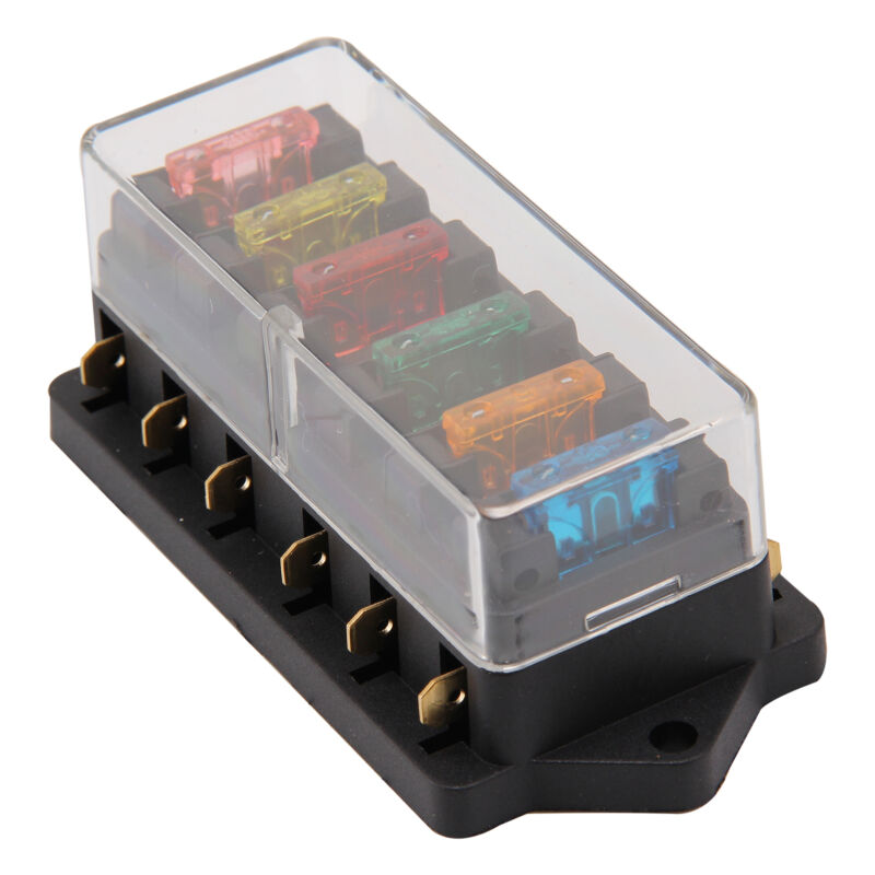 12V//24V Universal Car 6 Way Circuit Standard Blade Fuse Box Holder Electrical