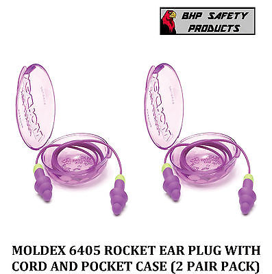 2 Pair Moldex Rockets 6405 Reusable Ear Plugs Corded With Carry Case