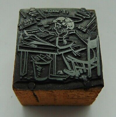 Vintage Printing Letterpress Printers Block Working Man At Desk