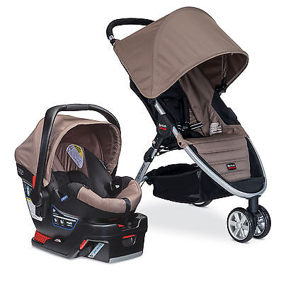 Britax B-Agile Stroller & 2015 B-Safe 35 Infant Car Seat Travel System Sandstone