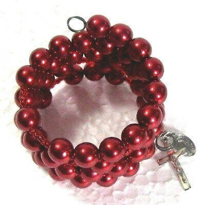 Rosary bracelet red Czech glass beads on memory wire ᵐ b2 Czech Glass Memory Wire Bracelet