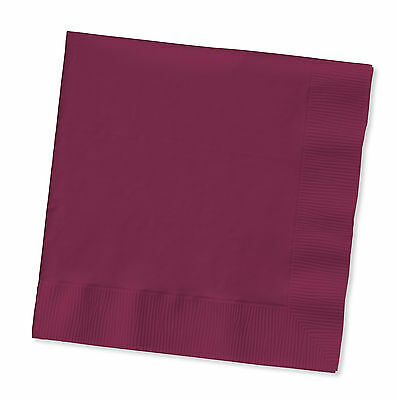 Burgundy Dinner Napkins (100 Plain Burgundy lunch/dinner napkins for wedding or party Large Size)
