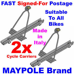 2X Car SUV Hatchback Saloon Roof Top Bar Cycle Bicycle Bike Carrier Rack Maypole