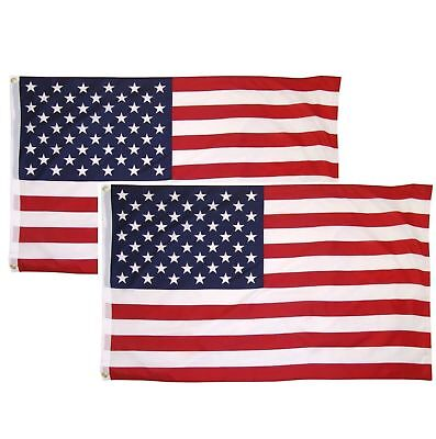 3x5 American Flag w/ Grommets ~ 2 Pack ~ USA United States of America ~ US Flags