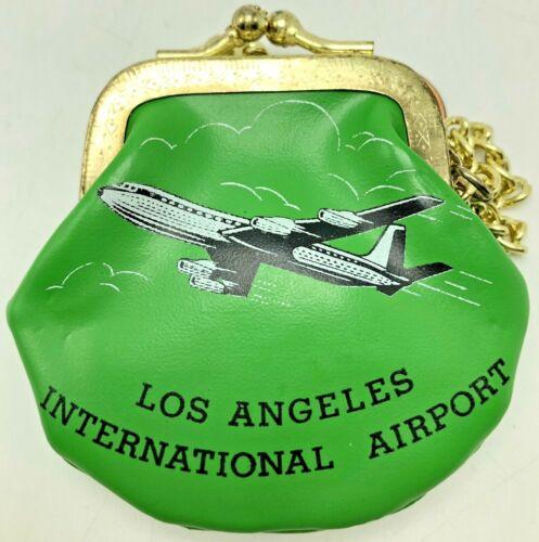 Vintage Coin Purse Souvenir Los Angeles International Airport Airplane Green