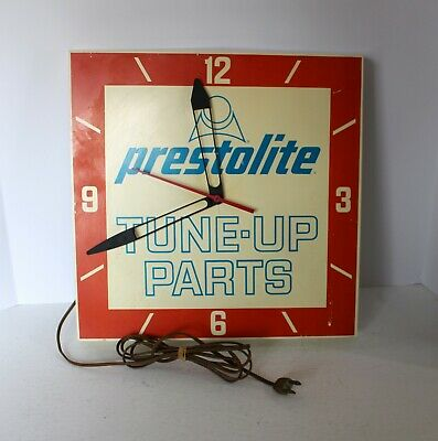"VINTAGE 1960'S PRESTOLITE TUNE-UP PARTS ADVERTISING CLOCK SIGN GAS/OIL 14"" SQ."