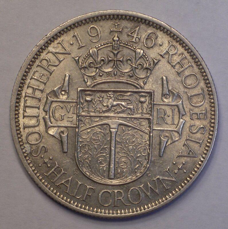 1946 Southern Rhodesia HALF CROWN Silver Coin KM-15a