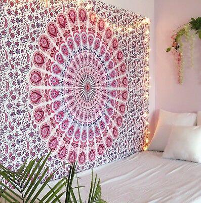 Pink Ombre Mandala Bedspread Tapestry Wall Art Hanging Hippie Bedspread](Bohemian Wall Art)