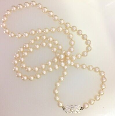 - Mikimoto Sterling Single Akoya Pearl Strand Necklace // 887-01023 Estate