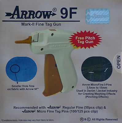 Arrow Fine Needle Tag Gun 1000 White Micro Barbs 75mm Cloth Tagging Attacher