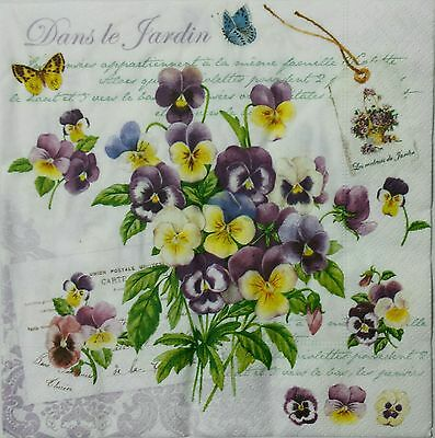 PANSIES SCRIPTS 2 individual LUNCH SIZE paper napkins for decoupage 3-ply
