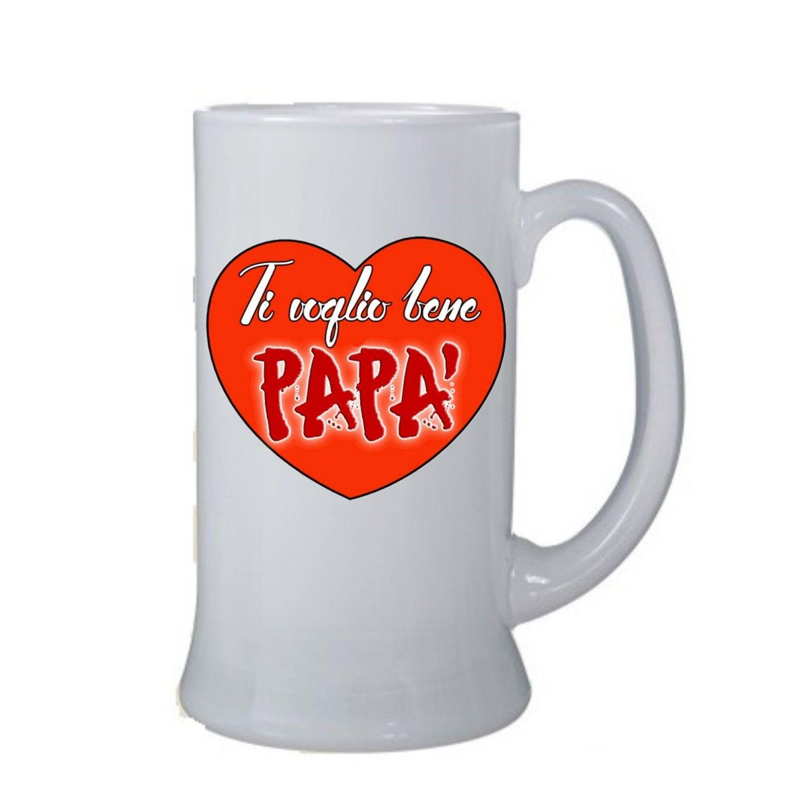 boccale birra bicchiere scritta ti voglio bene papa' festa compleanno regalo