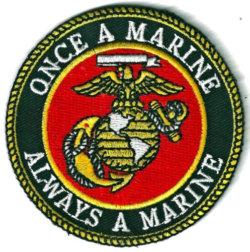 U.S.M.C.-ONCE A MARINE, ALWAYS A MARINE - OFFICIALLY LICENSED - IRON-ON PATCH