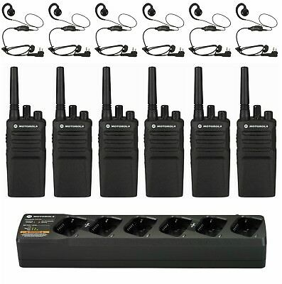 6 Motorola Rmu2080 Uhf Radios With Bank Charger Headsets. Buy 6 Get One Free