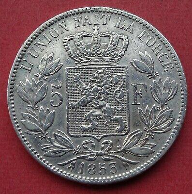 1853 5 Francs Leopold Premier I Argent Silver Nice details