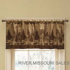Cabin Pine Lodge Wildlife Window Valance Rich Browns Modern Rustic 52