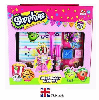 6Pc SHOPKINS DECORATE YOUR OWN  DIARY BOX SET Kids Girls Birthday Xmas New Gift