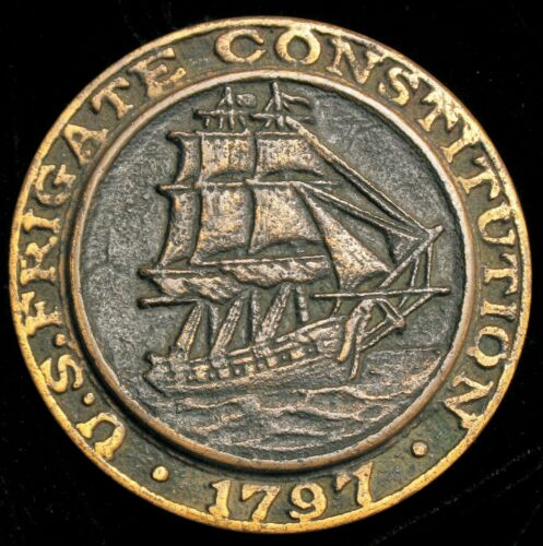 ANTIQUE OLD IRONSIDES US FRIGATE CONSTITUTION 1797 BRONZE PAPERWEIGHT NAUTICAL !