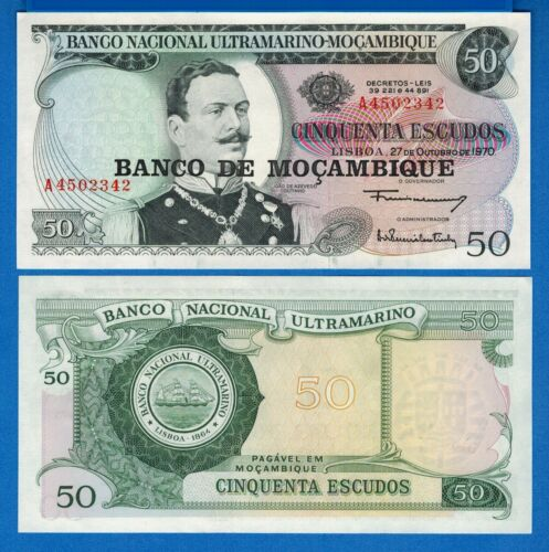 Mozambique P-116 50 Escudos Year ND 1976 Uncirculated Banknote Africa