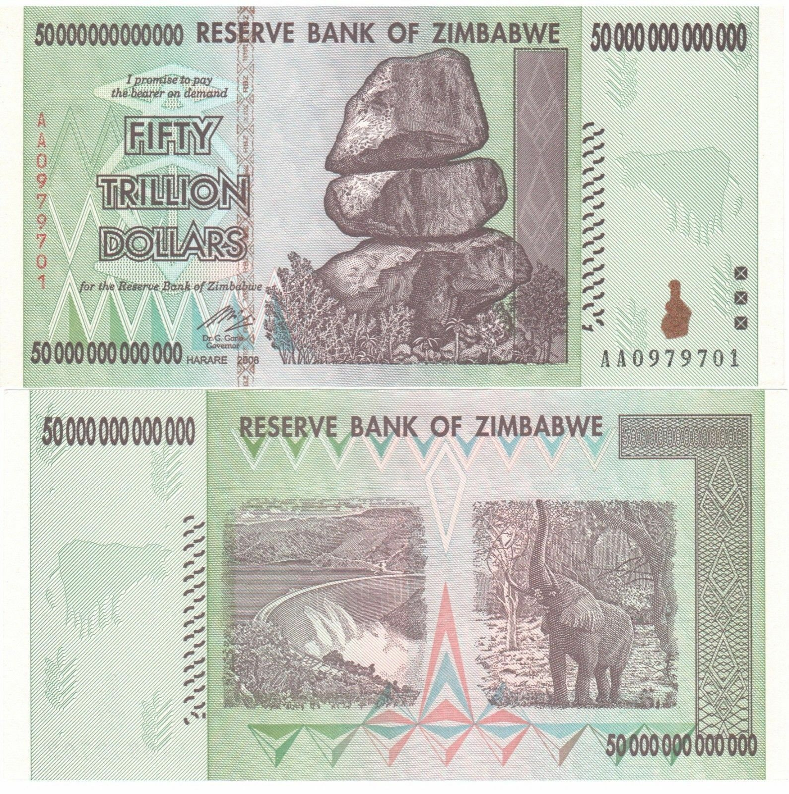 50 TRILLION ZIMBABWE DOLLARS CIRC NOTE 2008 AA SERIES 50 TRILLION ZIM