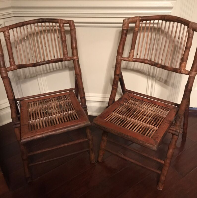 Pair of Vintage Tortoise Bamboo Rattan Folding Chairs