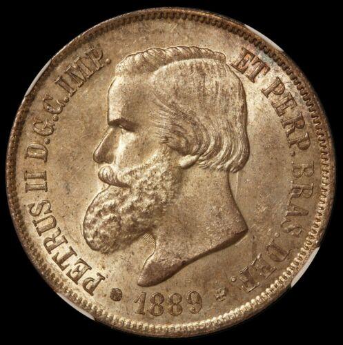 1889 Brazil 2000 Reis Empire Silver Coin - NGC MS 63 - KM# 485