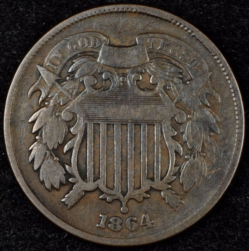 HIGHER GRADE CIRCULATED 1864 TWO CENT PIECE. PLEASANT COLOR, FIRST YEAR! #3