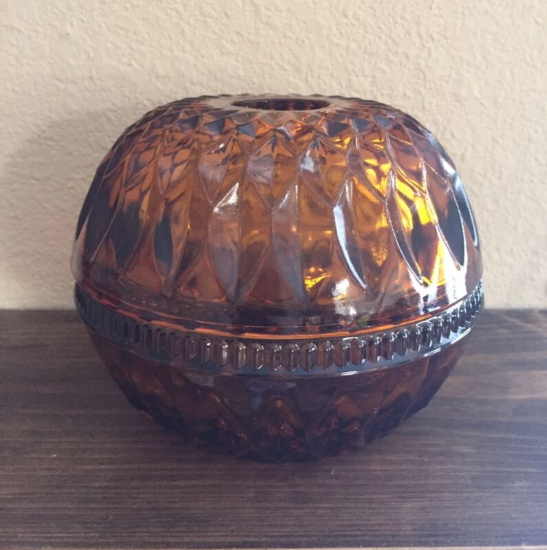 Vintage Round Amber Fairy Lamp Indiana Glass Candle