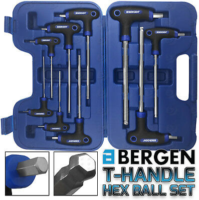 BERGEN 9pc T Handle Hex Ball Ended Set Allen Key 2mm - 10mm Ball End Hex Keys